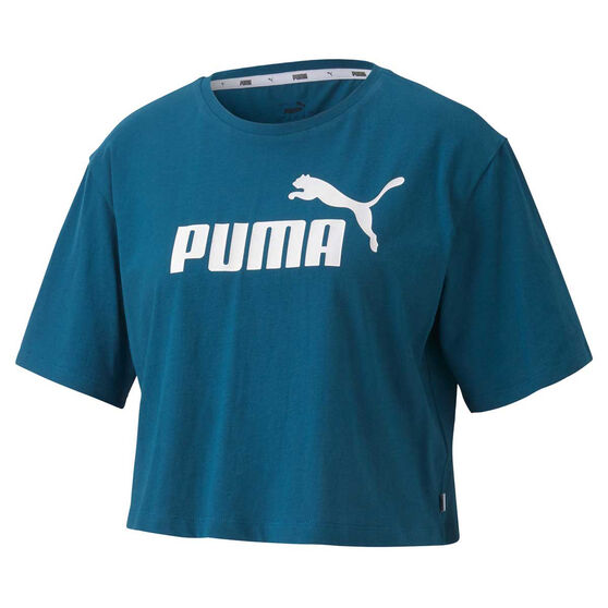 Puma Womens Essentials Cropped Tee, Blue, rebel_hi-res