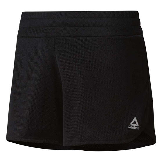 Reebok Womens Mesh Running Shorts, Black, rebel_hi-res