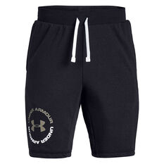 Under Armour Boys Rival Terry Shorts Black / Brown XS, Black / Brown, rebel_hi-res
