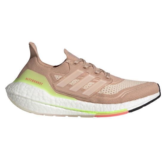 adidas Ultraboost 21 Womens Running Shoes, White/Pink, rebel_hi-res