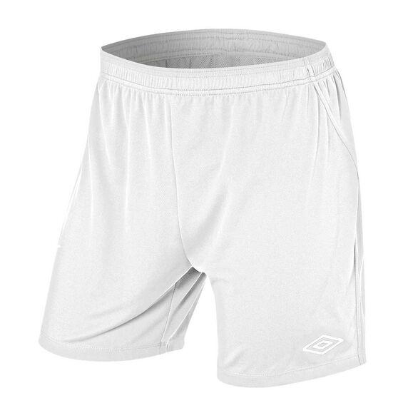 Umbro League Mens Football Shorts White XXL Adults, White, rebel_hi-res