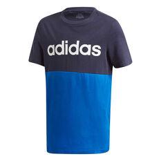 adidas Boys Linear Colourblock Tee Black 6, Black, rebel_hi-res