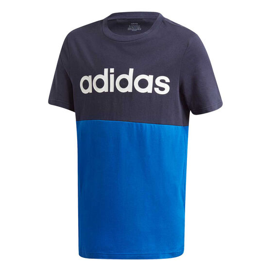 adidas Boys Linear Colourblock Tee, Black, rebel_hi-res