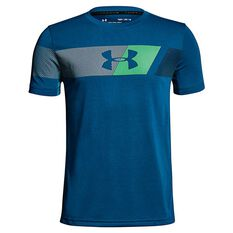 Under Armour Boys Threadborne Tech Tee Blue / Grey XS, Blue / Grey, rebel_hi-res