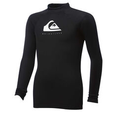 Quiksilver Boys Heater Longsleeve Rash Vest Black 8, Black, rebel_hi-res