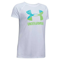 Under Armour Girls Solid Big Logo TShirt White XS, White, rebel_hi-res