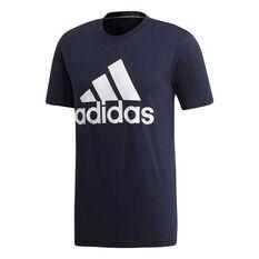 adidas Mens Must Haves Badge of Sport Tee Blue / Navy S, Blue / Navy, rebel_hi-res