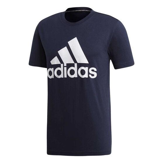 adidas Mens Must Haves Badge of Sport Tee, Blue / Navy, rebel_hi-res