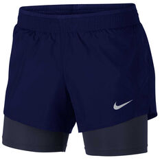 Nike Womens 10k 2 in 1 Running Shorts Blue / Black XS, Blue / Black, rebel_hi-res