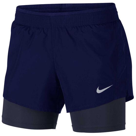 Nike Womens 10k 2 in 1 Running Shorts, Blue / Black, rebel_hi-res