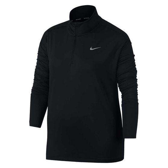 Nike Womens Element Half Zip Running Top Plus, Black, rebel_hi-res