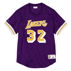 Los Angeles Lakers Magic Johnson 32 Mens Mesh Tee Purple S, Purple, rebel_hi-res
