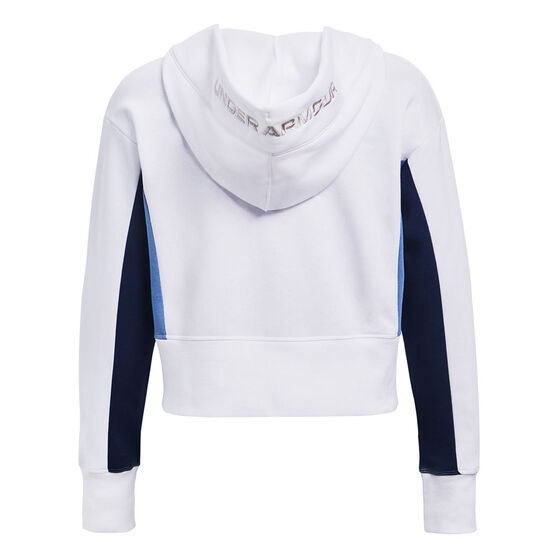 Under Armour Womens UA Rival Fleece Embroidered Hoodie, White, rebel_hi-res