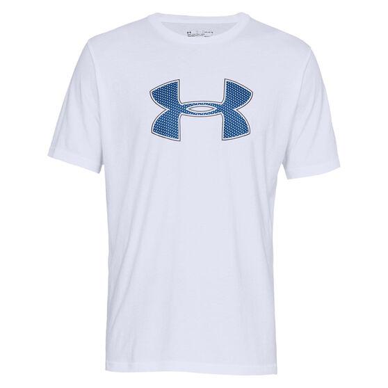 Under Armour Mens Big Logo Sportswear Tee, White / Blue, rebel_hi-res
