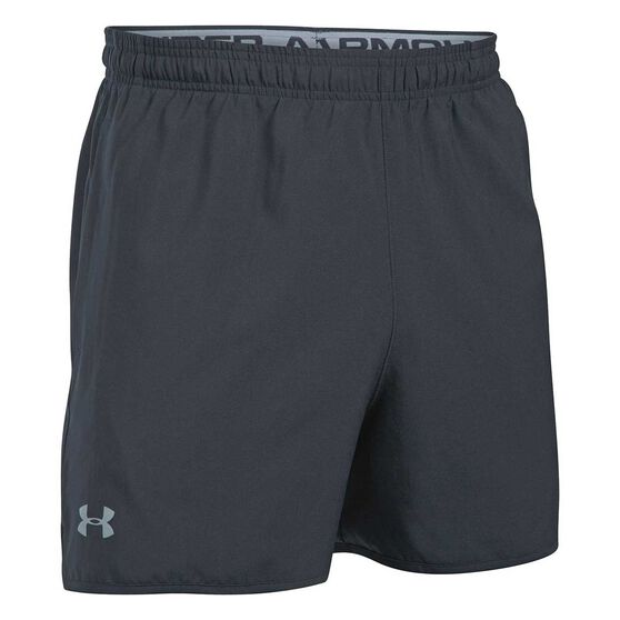 Under Armour Mens Qualifier 5in Woven Shorts, Black, rebel_hi-res