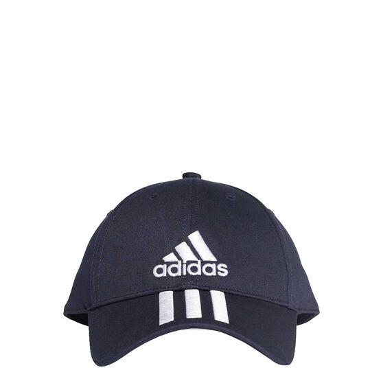 adidas Mens 3 Stripe Cotton Cap Navy / White OSFA, , rebel_hi-res