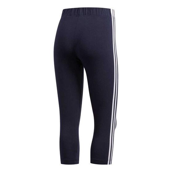 adidas Womens Essentials 3 Stripes 3/4 Tights, Navy, rebel_hi-res