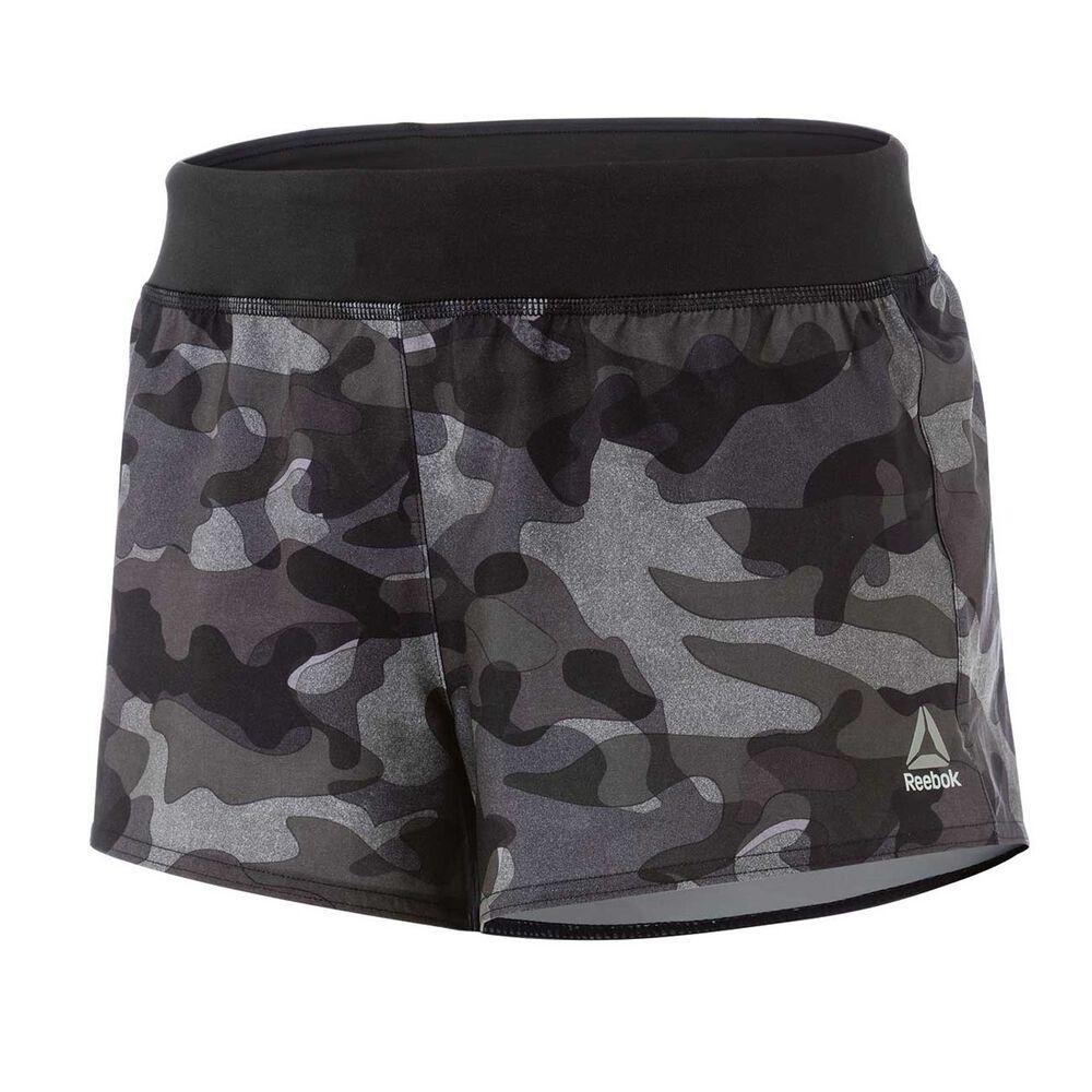 Reebok Womens 3IN Woven Camo Shorts Black XS Adult  f2bd0eea07a