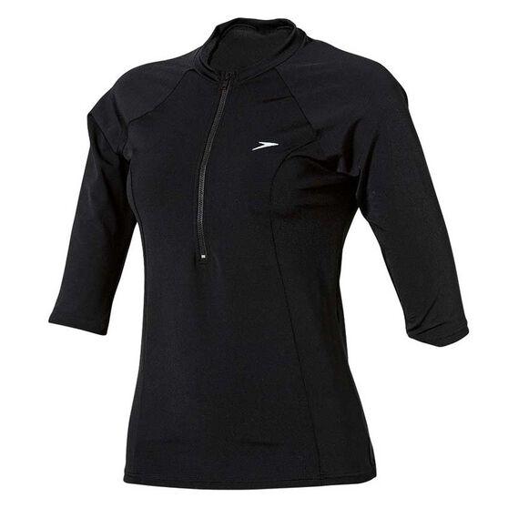 Speedo Womens Endurance Half Zip Sun Top Black 8, Black, rebel_hi-res