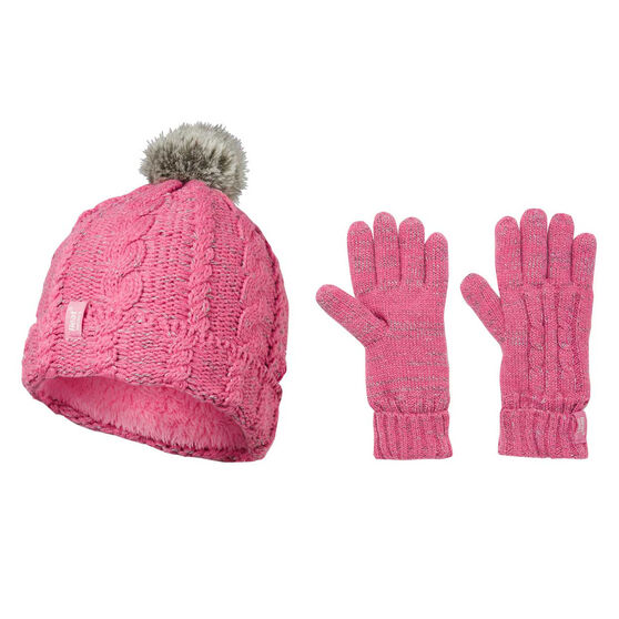 Heatholders Kids Cable Knit Beanie and Ski Mitten Set, , rebel_hi-res