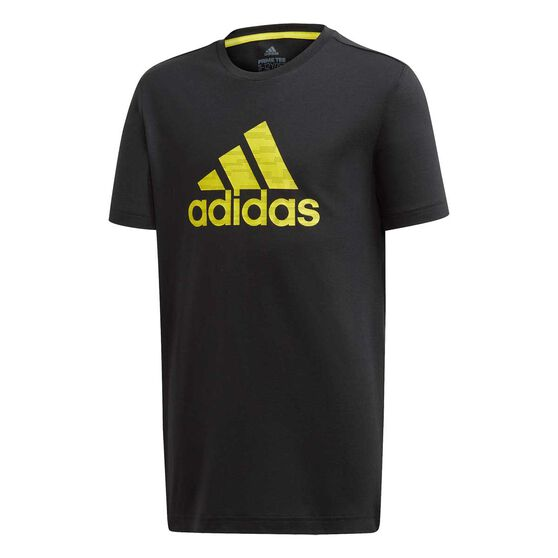 adidas Boys Prime Tee, Black / Yellow, rebel_hi-res