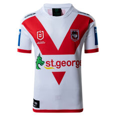 St George Illawarra Dragons 2021 Kids Home Jersey White/Red 8, White/Red, rebel_hi-res