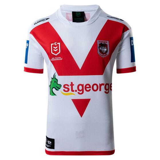 St George Illawarra Dragons 2021 Kids Home Jersey, White/Red, rebel_hi-res