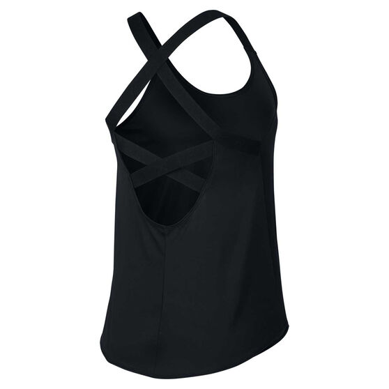 Nike Womens Dri FIT Elastika Training Tank, Black / White, rebel_hi-res