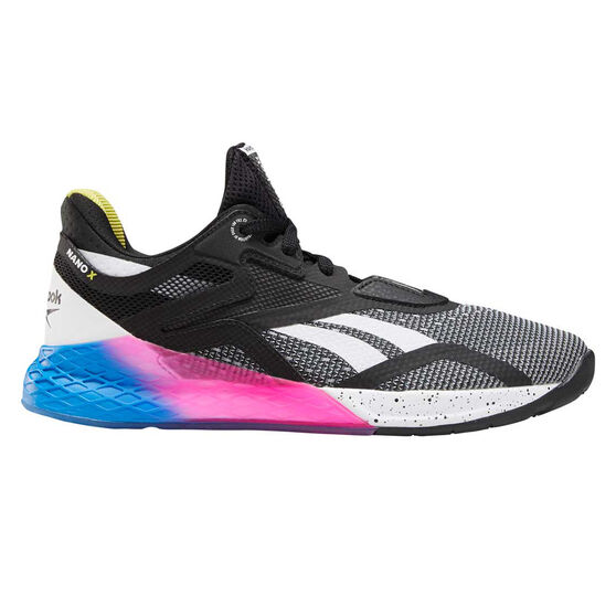 Reebok Nano X Womens Training Shoes, Black / Blue, rebel_hi-res