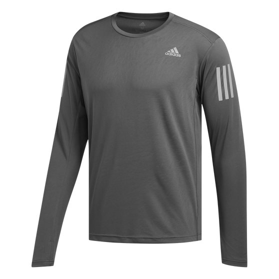adidas Mens Own The Run Long Sleeve Tee, Grey, rebel_hi-res