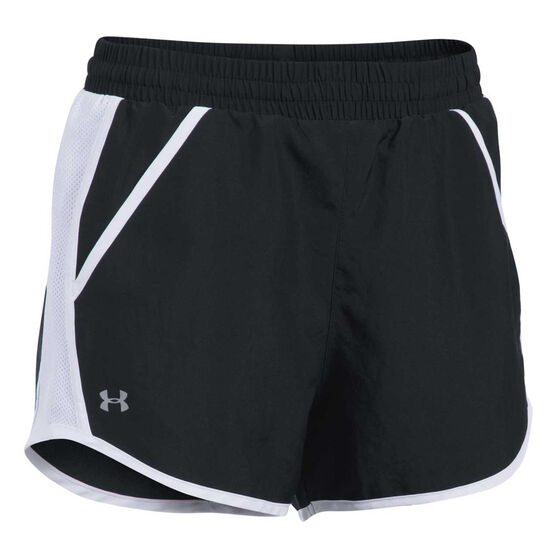 Under Armour Womens Fly By Shorts, Black, rebel_hi-res