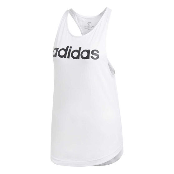 adidas Womens Essentials Linear Loose Tank, White / Black, rebel_hi-res