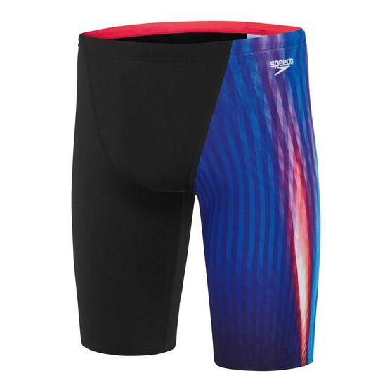 Speedo Mens Aurora Flipturns Jammer Swim Shorts Black / Red 18, Black / Red, rebel_hi-res
