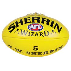 Sherrin Wizard Australian Rules Football Yellow 3, Yellow, rebel_hi-res