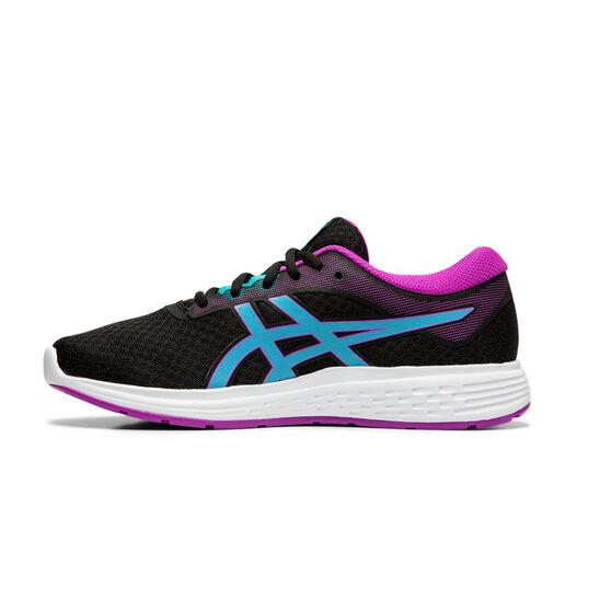 Asics Patriot 11 Kids Running Shoes, Black / Purple, rebel_hi-res