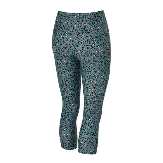 Running Bare Womens Ab Waisted Power Moves 7 / 8 Tights, Print, rebel_hi-res
