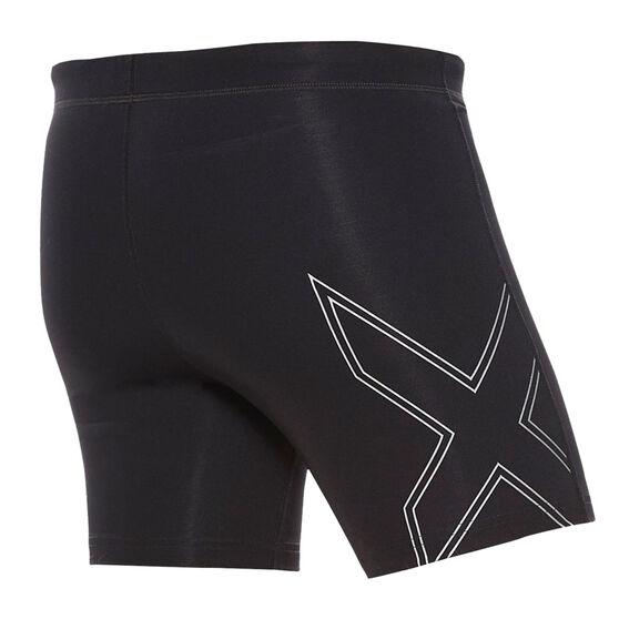 2XU Mens Aspire Compression Half Shorts, Black, rebel_hi-res