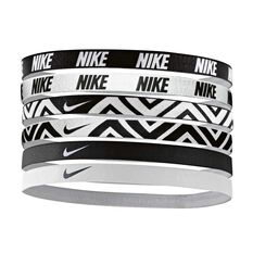 Nike Womens Printed Headbands 6 Pack Black / White OSFA, , rebel_hi-res