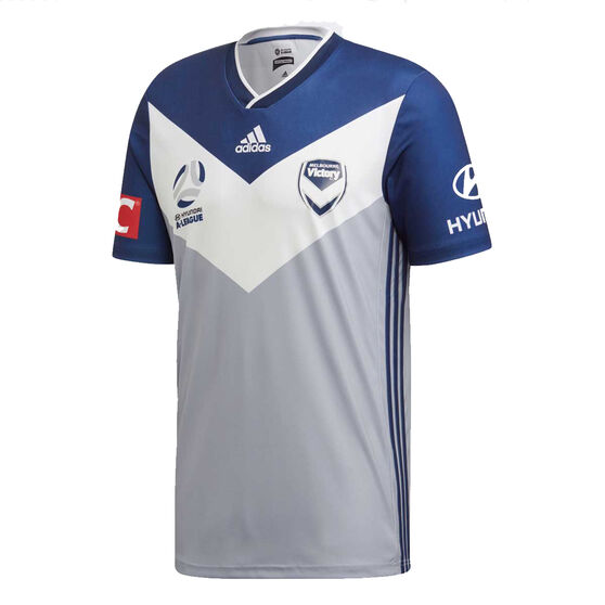 Melbourne Victory FC 2019/20 Mens Away Jersey Grey / Navy L, Grey / Navy, rebel_hi-res