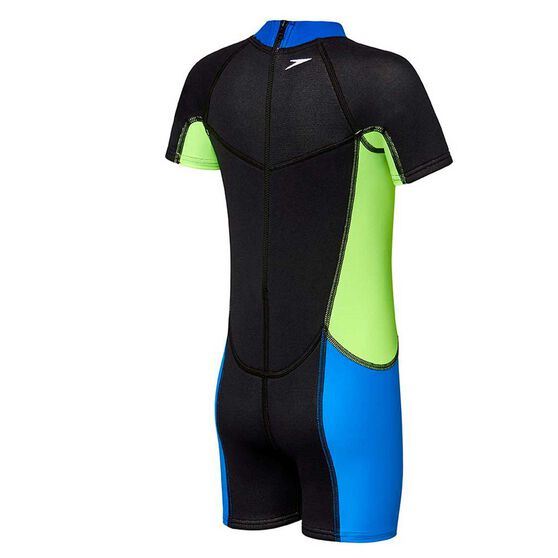 Speedo Toddler Boys Neoprene Suit Black / Blue 3, Black / Blue, rebel_hi-res