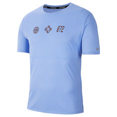 Nike Mens Breathe Wild Run Running Tee Blue S, Blue, rebel_hi-res