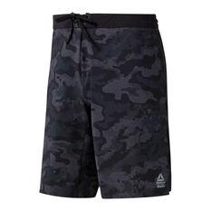 Reebok Mens CrossFit Epic Camo Cordlock Shorts Black 28 in, Black, rebel_hi-res