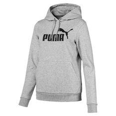 Puma Womens Essentials Fleece Logo Hoodie, Grey, rebel_hi-res