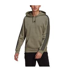 adidas Mens Essentials 3-Stripes Fleece Hoodie Green S, Green, rebel_hi-res
