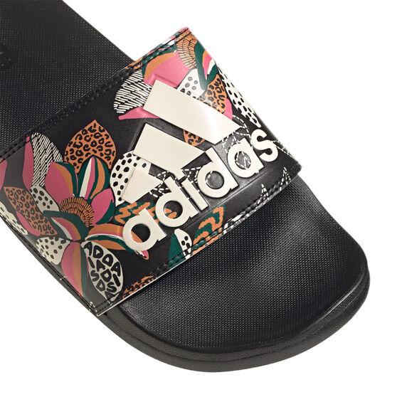 adidas Adilette Comfort Womens Slides, Black/White, rebel_hi-res