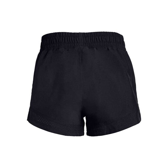 Under Armour Girls Sprint Shorts, Black / White, rebel_hi-res