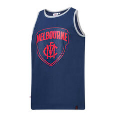 Melbourne Demons Mens Supporter Logo Tank Blue S, Blue, rebel_hi-res