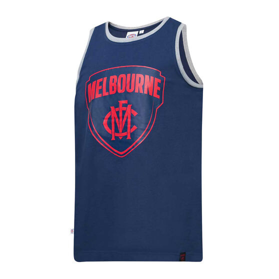 Melbourne Demons Mens Supporter Logo Tank, Blue, rebel_hi-res