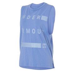 Under Armour Womens Linear Muscle Tank Jupiter Blue XS, Jupiter Blue, rebel_hi-res