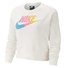 Nike Womens Sportswear Fleece Sweatshirt Ivory XS, Ivory, rebel_hi-res